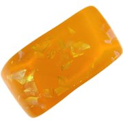 Vintage wide Lucite yellow Bangle Bracelet with embedded glittering pieces
