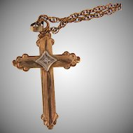 Small gold filled Cross Pendant with  tiny diamond