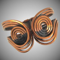 Vintage abstract swirls and coils copper clamper Bracelet