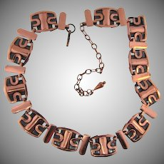 Vintage copper Choker necklace in an abstract design
