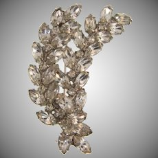 Signed Kramer crystal rhinestone double spray Brooch