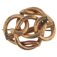 Large Edwardian Lover's Knot gold filled Brooch