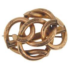 Large Edwardian Lover's Knot gold filled Brooch
