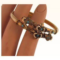 Lovely Late Victorian gold filled cross over Bracelet with tiny turquoise beads