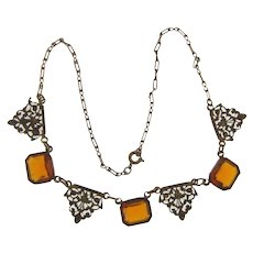Lovely ornate vintage choker Necklace with amber glass squares
