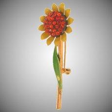Vintage daisy Brooch with orange rhinestones