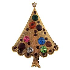 Vintage Christmas tree Brooch with multicolored rhinestones