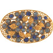 Early vintage floral rhinestone Brooch with shades of blue rhinestones