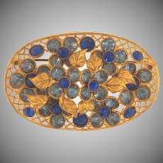 Early vintage floral rhinestone Brooch with shades of blue rhinestones