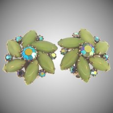 Signed Weiss clip back rhinestone Earrings in shades of green