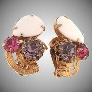 Lovely  rhinestone clip back Earrings in springtime colors