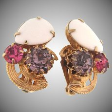 Lovely  rhinestone clip back Earrings in springtime colors
