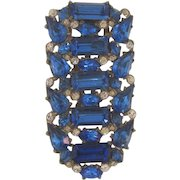 Large Art Deco Dress Clip with blue and crystal rhinestones