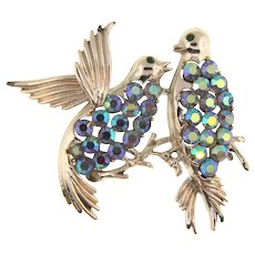 Signed Pegasus Coro 1960's figural bird Brooch with blue AB rhinestones