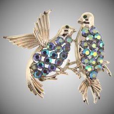 Signed Pegasus Coro 1960's figural bird Brooch with blue AB rhinestones