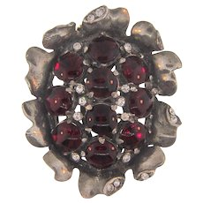 Vintage 1930's pot metal  Dress Clip with red and crystal rhinestones