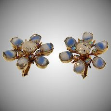 Signed Coro rhinestone clip back Earrings with blue givre  and crystal stones