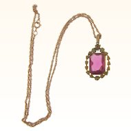 Vintage pendant Necklace with pink faceted glass stone