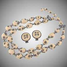 Vintage composition bead double strand choker Necklace and matching clip back Earrings