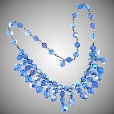 Vintage blue faceted crystal choker Necklace
