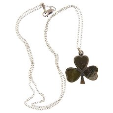 Marked Irish sterling silver Pendant necklace with connemara marble shamrock