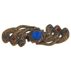 Early 1900's figural Bar Pin with three snakes and rhinestones