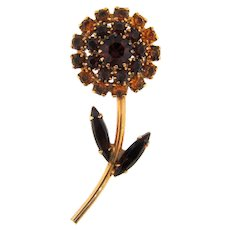 Vintage 1960's flower Brooch in fall shades