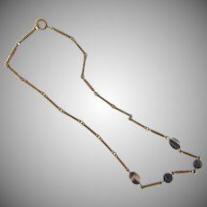 Vintage early link Necklace with a chased chain and banded agate beads