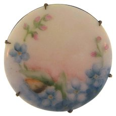 Early hand painted floral porcelain Brooch