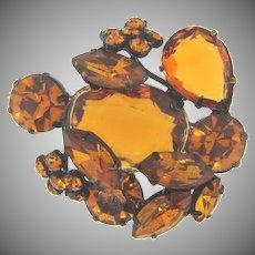 Marked Czechoslovakia rhinestone Brooch in amber fall shades