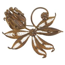 Signed Alice Caviness Sterling gold vermeil floral Brooch