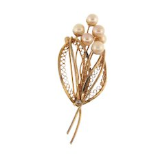 Signed Valenza 1/20 12kt GF vintage Brooch with pearls