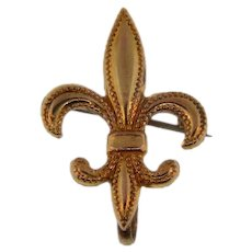Small early gold filled Fleur de Lis Watch Pin