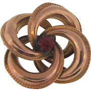 Small early Lover's Knot gold filled Scatter Pin with red glass stone