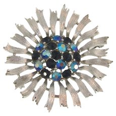 Signed Lisner 1960's rhinestone floral Brooch in shades of blue