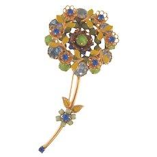 Beautiful vintage 1960's flower rhinestone and enamel Brooch