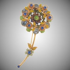 Beautiful vintage 1960's flower rhinestone and enamel Brooch