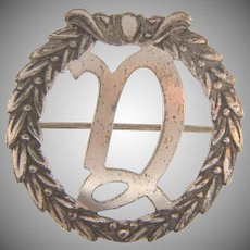 Marked Sterling silver vintage Branch with initial D