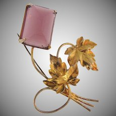 Marked sterling gold vermeil Brooch with beautiful purple stone