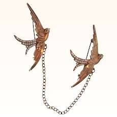 Vintage chatelaine rhinestone Brooches of birds in flight