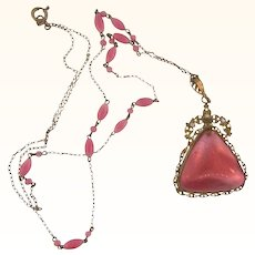 Vintage pendant Necklace with large pink satin glass cabochon