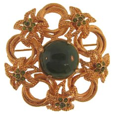 Vintage floral gold tone large Brooch with shades of green rhinestones