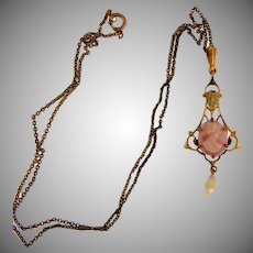 Vintage lavalier gold filled Necklace with cameo and freshwater pearl dangle
