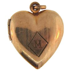Signed Stetson Chain Co. 1940's gold filled heart shaped locket with initial M