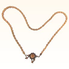 Victorian gold filled book chain Necklace with floral center piece and bell dangles