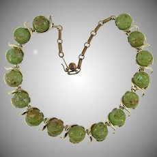 Signed Coro vintage link choker Necklace with green Lucite confetti cabochons