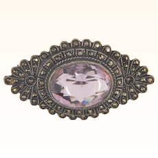Marked sterling vintage marcasite and amethyst Brooch
