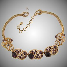Vintage 1960's choker Necklace with purple stones