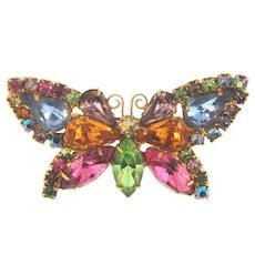 Vintage multicolored rhinestone figural butterfly Brooch