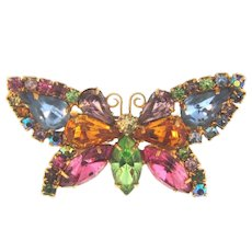 Vintage multicolored rhinestone figural butterfly Brooch